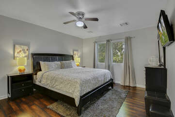 Suite 2 is located next to the kitchen and features a Cal King-sized Bed and a 40-inch JVC HD television.