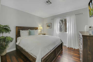 Bedroom 4 is located across from Master Suite 1 and features a Full-sized Bed and a 40-inch Vizio HD television.