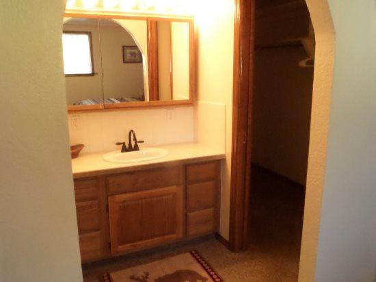 Master suite vanity area and walk in closet