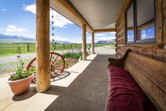Front entry with views of the valley and mountains beyond