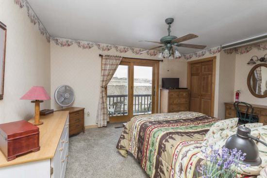 Bedroom with queen bed and great views