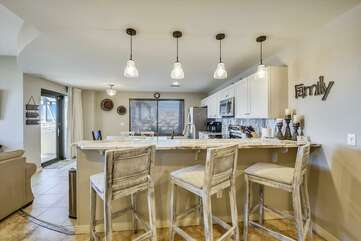 Kitchen island, 3 barstools