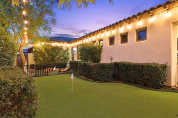 The putting green is lite up, perfect for a late evening game.