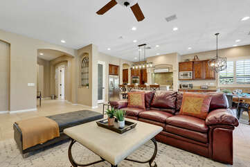 There is plenty of room in the family area to lounge out in the comfortable living furniture.