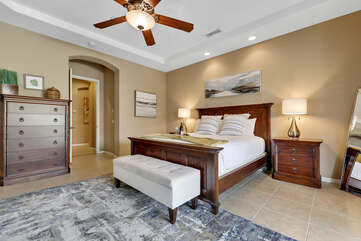 Master Suite 1 has access to the back patio and a private, en suite bathroom.