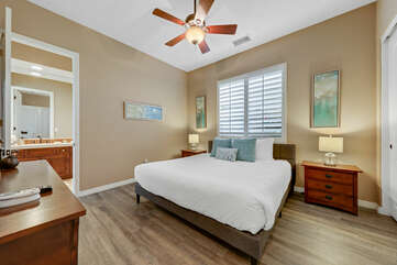 Bedroom 3 is located next to Bedroom 2 and features a King-sized Bed and a  32-inch Samsung Smart television.
