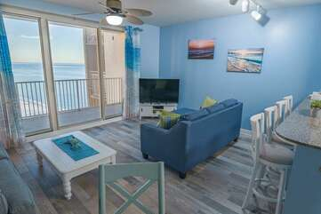 Living area with view of the Gulf of Mexico