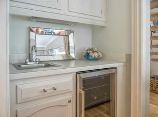 Wet bar with wine cooler.  Make yourself at home.