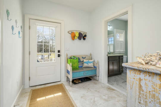 Back door to patio and full Bath #2-445 Lower County Rd Harwich- Cape Cod- New England Vacation Rentals.