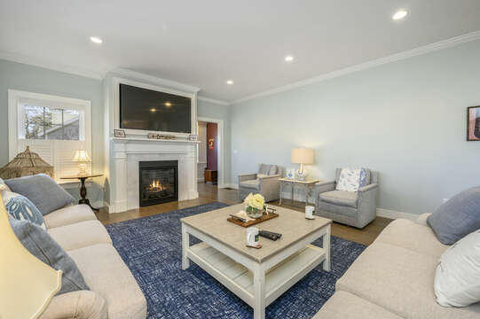 Lots of comfy seating to watch the Red sox play-445 Lower County Rd Harwich- Cape Cod- New England Vacation Rentals.