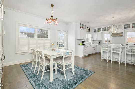 Dining area and Kitchen with eat at counter-445 Lower County Rd Harwich- Cape Cod- New England Vacation Rentals.