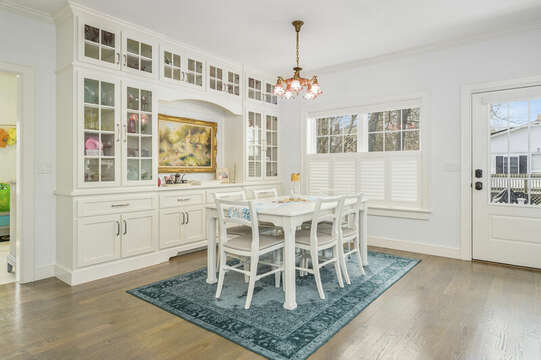 Dining area and side door -445 Lower County Rd Harwich- Cape Cod- New England Vacation Rentals.