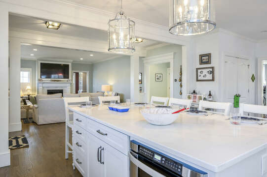 Large center island with seating for 6- 445 Lower County Rd Harwich- Cape Cod- New England Vacation Rentals.