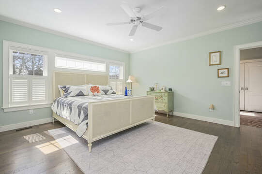 Bedroom #1 King bed, ceiling fan dresser-445 Lower County Rd Harwich- Cape Cod- New England Vacation Rentals.