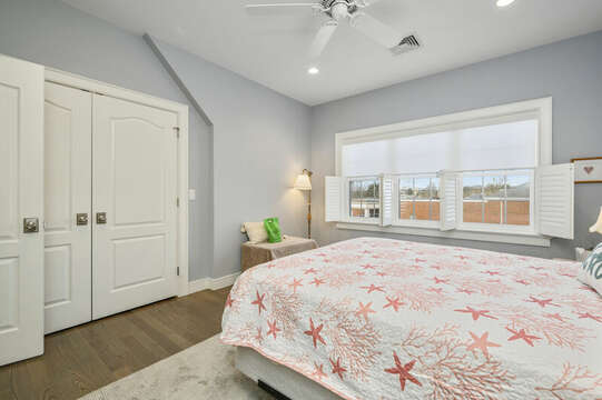 Bedroom #3 Queen bed, large closet with built ins-445 Lower County Rd Harwich- Cape Cod- New England Vacation Rentals.