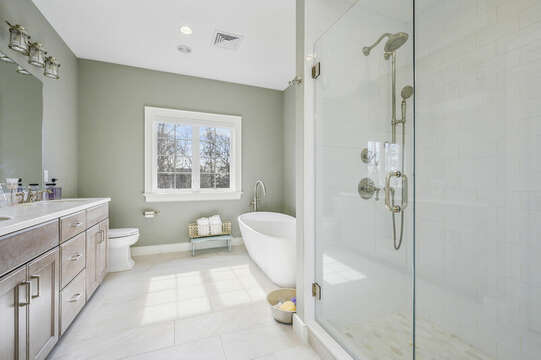 Bathroom #3 - second floor hallway with soaking tub and large stand up shower-445 Lower County Rd Harwich- Cape Cod- New England Vacation Rentals.