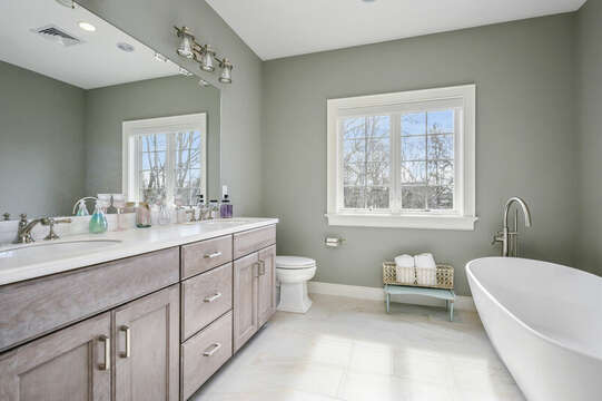 Bathroom #3 - Soaking tub and large stand up shower-445 Lower County Rd Harwich- Cape Cod- New England Vacation Rentals.