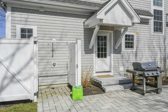 Back yard patio, grill and outdoor shower - 445 Lower County Rd Harwich- Cape Cod- New England Vacation Rentals.