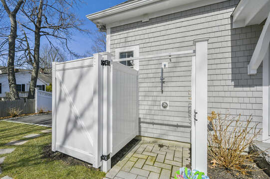 Outdoor shower - 445 Lower County Rd Harwich- Cape Cod- New England Vacation Rentals.