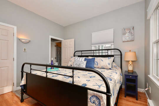 King Bedroom with flat screen TV and work station for remote working - 25 Bank Street Unit #2 Harwich Port - New England Vacation Rentals