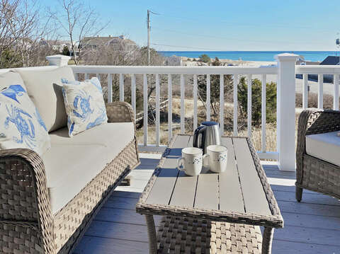 Comfy Seating and Views from the back deck - 25 Bank Street Unit #2 Harwich Port - New England Vacation Rentals