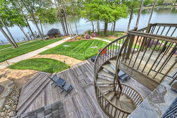 Your own private castle on Lake Norman with a spiral staircase down to lake level.