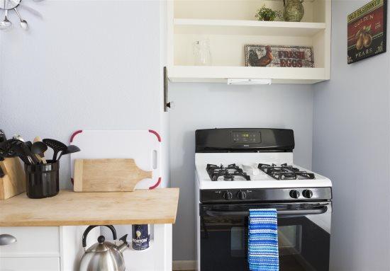 Bright kitchen with window seat