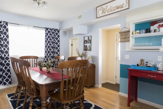 Dining area opens to back entry/laundry