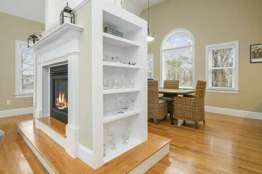 Gorgeous center fire place with built in shelving-51 Nantucket St Hyannis - Cape Cod- New England Vacation Rentals
