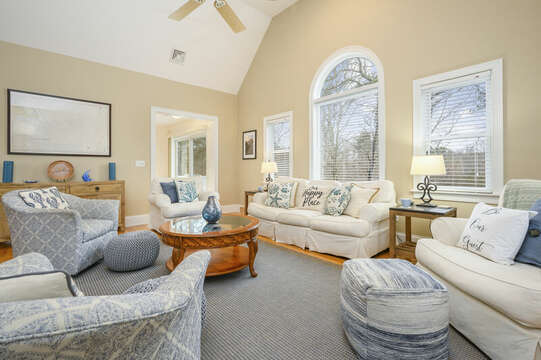 Second level Living Room with ample seating and lots of Natural lighting-51 Nantucket St Hyannis - Cape Cod- New England Vacation Rentals