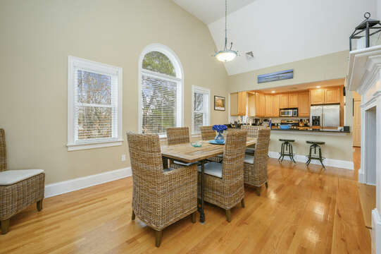 Dining room open to Kitchen , extra seating (4) at the breakfast bar -51 Nantucket St Hyannis - Cape Cod- New England Vacation Rentals