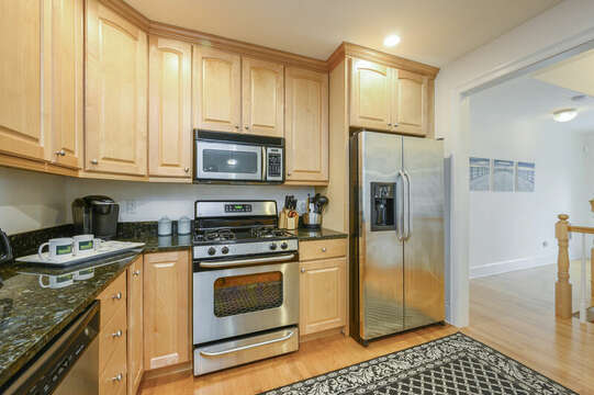 Large kitchen with stainless appliances-51 Nantucket St Hyannis - Cape Cod- New England Vacation Rentals