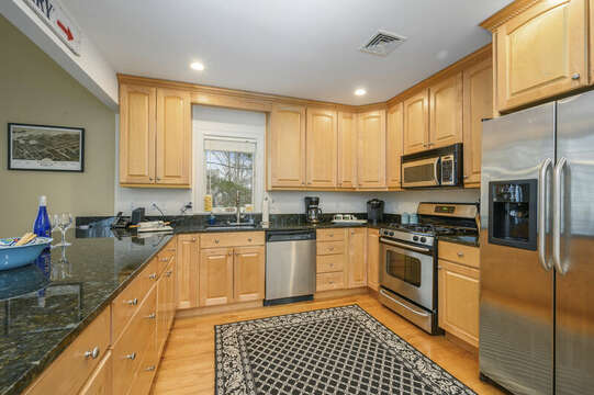Large kitchen with all stainless appliances-51 Nantucket St Hyannis - Cape Cod- New England Vacation Rentals