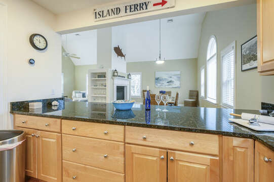Second level open kitchen, dining and living-51 Nantucket St Hyannis - Cape Cod- New England Vacation Rentals
