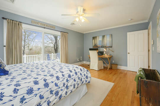 Second level Bedroom #2 King bed, desk , sliders to deck-51 Nantucket St Hyannis - Cape Cod- New England Vacation Rentals