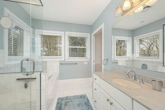 Second level Bathroom #2 ensuite to Bedroom #2-51 Nantucket St Hyannis - Cape Cod- New England Vacation Rentals