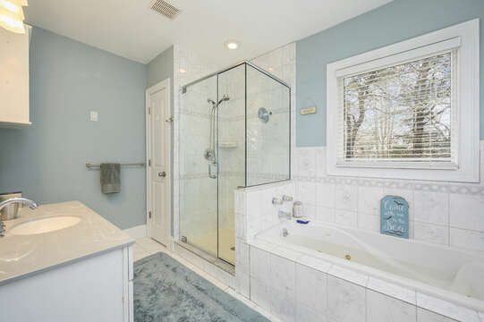 Second level Bathroom #2 ensuite to Bedroom #2 with tub and stand up shower-51 Nantucket St Hyannis - Cape Cod- New England Vacation Rentals