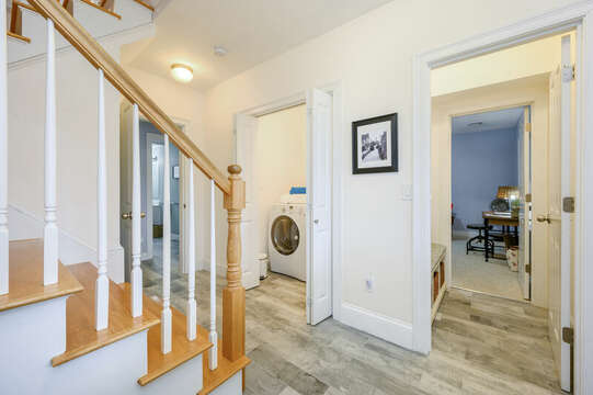 First floor entry, Laundry room, entry to second living area and stairs to second floor-51 Nantucket St Hyannis - Cape Cod- New England Vacation Rentals