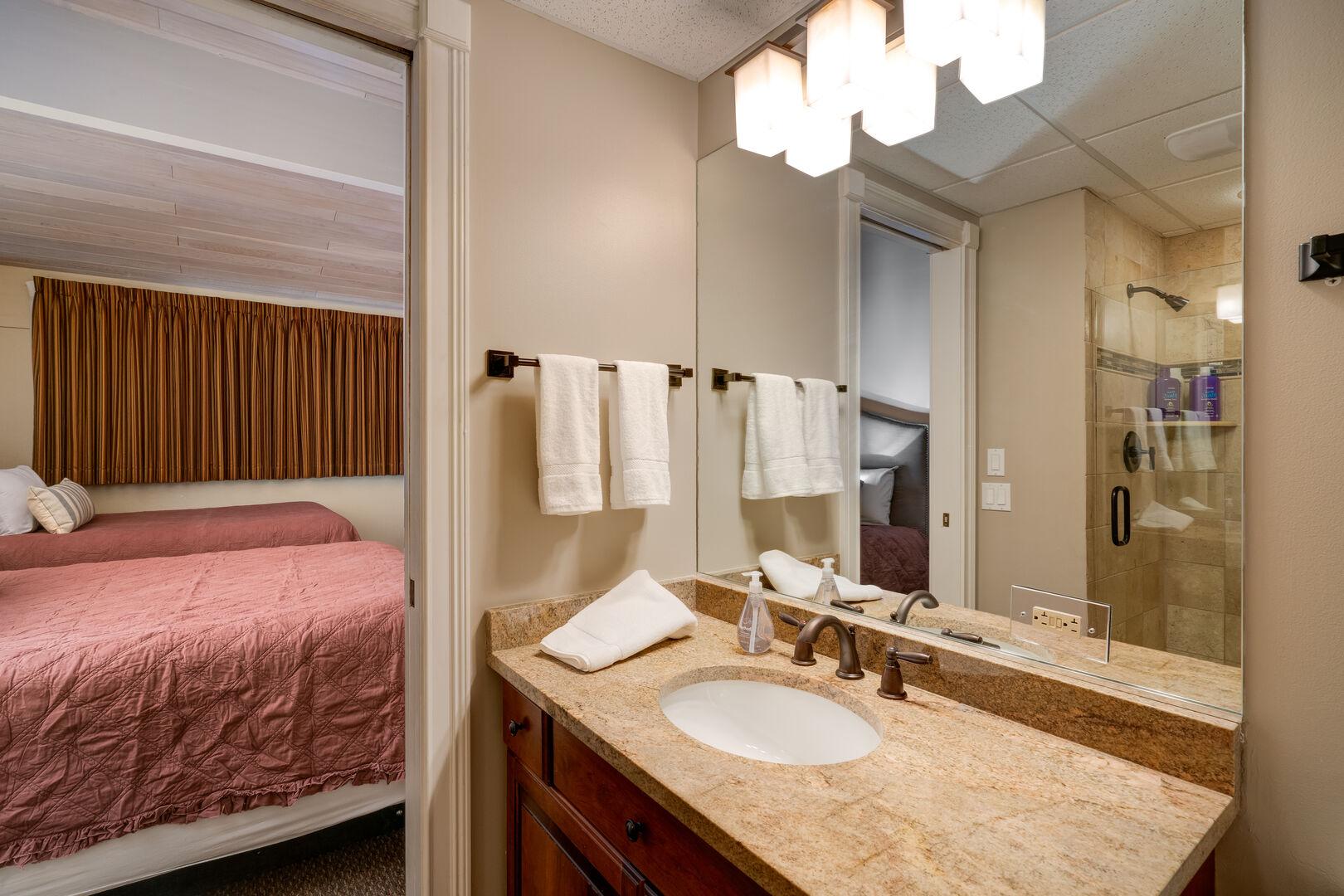 Ensuite bath in bedroom 1.