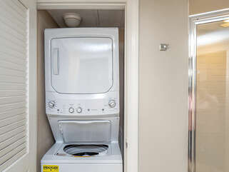 Washer dryer for your convenience. Ironing board and Iron as well.