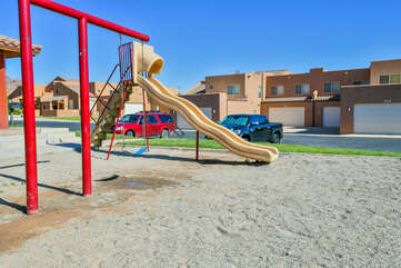 Playset and Swings.