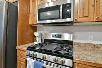 Stove, Microwave, and Coffee Maker.
