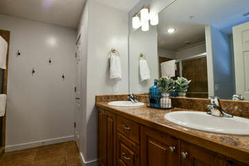 Double Vanity Sink, Shower, Mirror, and Lamps.