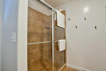 Shower with Sliding Door.