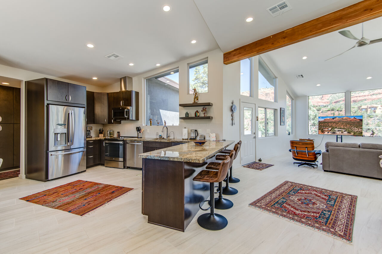 Spacious Kitchen with Bar Seating