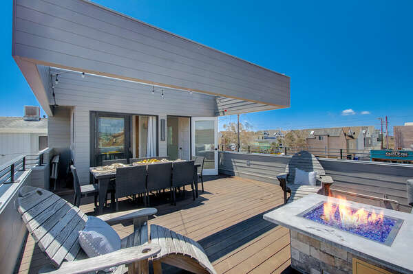 Top Floor Deck w/ Outdoor Dining, Fire Pit, & Ocean and Bay Views - Third Floor