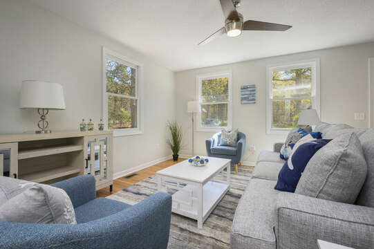 Living room with ample seating-875 Great Pond-Eastham- Cape Cod- New England Vacation Rentals