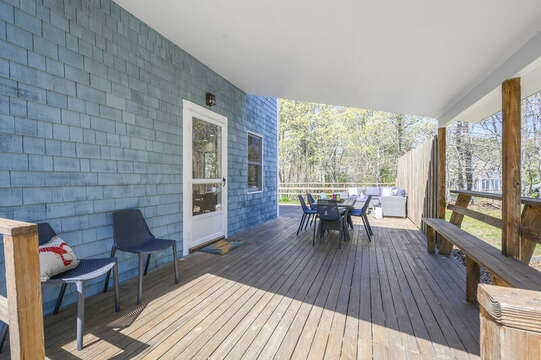Large partially covered deck for out door dining and relaxing-875 Great Pond-Eastham- Cape Cod- New England Vacation Rentals