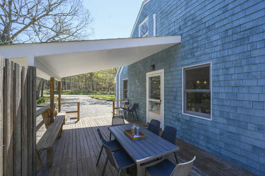 Covered deck for out door dining-875 Great Pond-Eastham- Cape Cod- New England Vacation Rentals