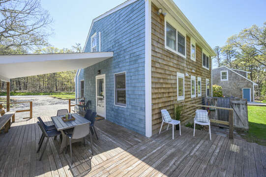 Large deck with ample seating-875 Great Pond-Eastham- Cape Cod- New England Vacation Rentals